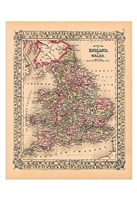 County Map of England and Wales, 1867 Fine Art Print