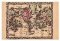 """19"""" x 13"""" World Map Art"""