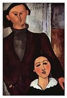 "Portrait of Jacques & Berthe Lipchitz by Amedeo Modigliani - 13"" x 19"", FulcrumGallery.com brand"