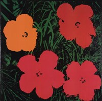 """Flowers (1 red, 1 yellow, 2 pink), 1964 by Andy Warhol, 1964 - 26"""" x 26"""""""
