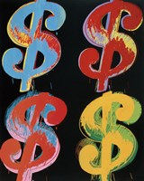 "$4 (blue, red, orange, yellow), 1982 by Andy Warhol, 1982 - 20"" x 25"""