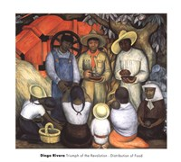 """Triumph of the Revolution- Distribution of Food by Diego Rivera - 30"""" x 27"""""""