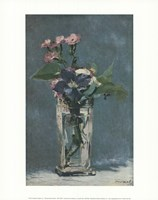 Carnations and Clematis in a Crystal Vase Fine Art Print
