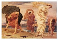 Greek Girls Picking up Pebbles Fine Art Print