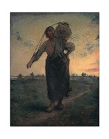 "The Norman Milkmaid in Gréville, 1874 by Jean Francois Millet, 1874 - 11"" x 14"""