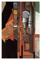 """Glasses, Newspaper, and Bottle of Wine by Juan Gris - 13"""" x 19"""""""