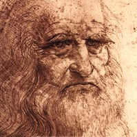 "Self Portrait (detail) by Leonardo Da Vinci - 12"" x 12"""