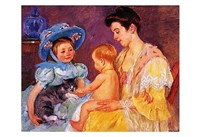 """Children Playing with a Cat by Mary Cassatt - 19"""" x 13"""""""