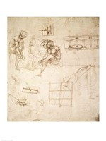 Studies of Figures and of Machinery by Leonardo Da Vinci - various sizes