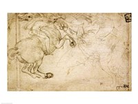 A Horseman in Combat with a Griffin by Leonardo Da Vinci - various sizes