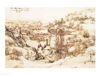Arno Landscape, 5th August, 1473 by Leonardo Da Vinci, 1473 - various sizes