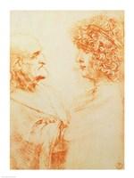 Two Heads in Profile, 1500 by Leonardo Da Vinci, 1500 - various sizes