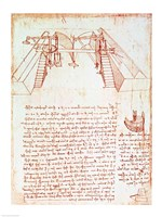 Pulley System for the Construction of a Staircase by Leonardo Da Vinci - various sizes