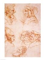 Seven Studies of Grotesque Faces Fine Art Print