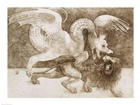 Fight between a Dragon and a Lion by Leonardo Da Vinci - various sizes