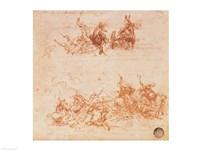 Study of Horsemen in Combat and Foot Soldiers, 1503 Fine Art Print