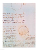 Detail from Study of the Illumination of the Moon 2r from Codex Leicester by Leonardo Da Vinci - various sizes