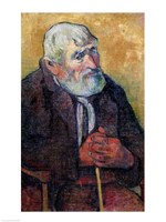 Portrait of an Old Man with a Stick, 1889-90 Fine Art Print
