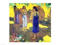 Three Tahitian Women against a Yellow Background, 1899 Fine Art Print