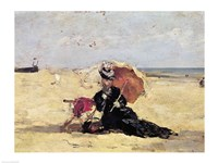 Woman with a Parasol on the Beach, 1880 Fine Art Print