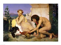 Young Greeks Encouraging Cocks to Fight, 1846 Fine Art Print