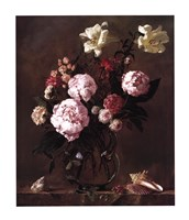 Peonies with Roses and Sweet Peas Fine Art Print