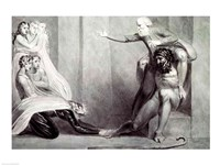 Tiriel, borne back to the Palace on the Shoulders of his Brother Ijim, addressing his five Daughters Fine Art Print