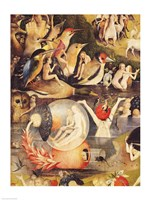 The Garden of Earthly Delights: Allegory of Luxury, people with birds detail Framed Print