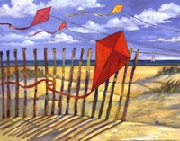 Beach Kites Red - mini Framed Print