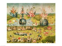 The Garden of Earthly Delights: Allegory of Luxury, horizontal central panel of triptych, c.1500 Fine Art Print