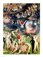 The Garden of Earthly Delights: Allegory of Luxury, detail of the central panel, c.1500 Fine Art Print