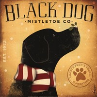 Black Dog Mistletoe Fine Art Print