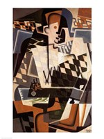 Harlequin with a Guitar, 1917 Fine Art Print