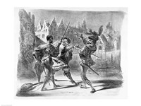 Duel between Faust and Valentine, from Goethe's Faust by Eugene Delacroix - various sizes, FulcrumGallery.com brand