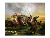 Moroccan horsemen in military action, 1832 Fine Art Print