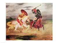 Two Knights Fighting in a Landscape by Eugene Delacroix - various sizes, FulcrumGallery.com brand