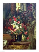 Vase of Flowers on a Console Fine Art Print