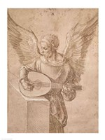 Angel playing a lute, 1491 Fine Art Print