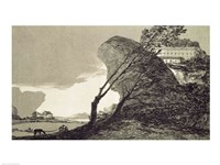 Landscape with Large Rocks, Buildings and Trees Fine Art Print