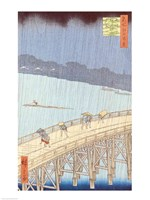 Sudden Shower on Ohashi Bridge Fine Art Print