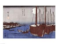 Tsukudajima island and the Fukagawa district under the full moon Fine Art Print