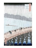 Sudden Shower over Shin-Ohashi Bridge Fine Art Print