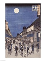 Night time view of Saruwaka Street Fine Art Print