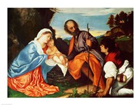 The Holy Family and a Shepherd Fine Art Print