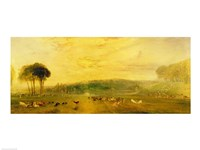 The Lake, Petworth: Sunset, Fighting Bucks Fine Art Print