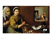 Kitchen Scene with Christ in the House of Martha and Mary Fine Art Print