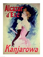 Poster advertising Alcazar d'Ete starring Kanjarowa Fine Art Print