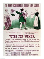 Women's Suffrage Poster The Right Dishonourable Double-Face Asquith Fine Art Print