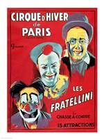 Poster advertising the 'Cirque d'Hiver de Paris' featuring the Fratellini Clowns Fine Art Print