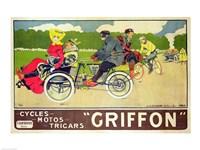 Poster advertising 'Griffon Cycles, Motos & Tricars' Fine Art Print